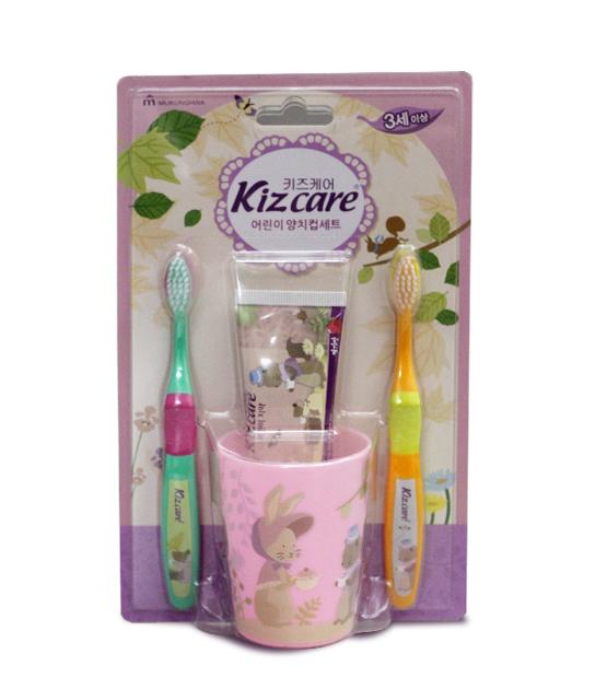 Bộ kem đánh răng và bàn chải Kizcare Strawberry (Dâu)