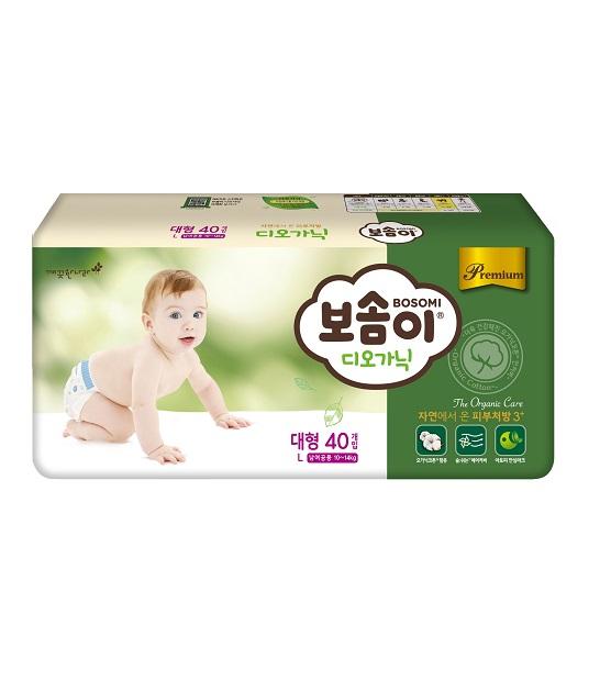 Tã giấy cao cấp Hàn Quốc Bosomi Organic (Size L - dành cho bé từ 10-14kg)
