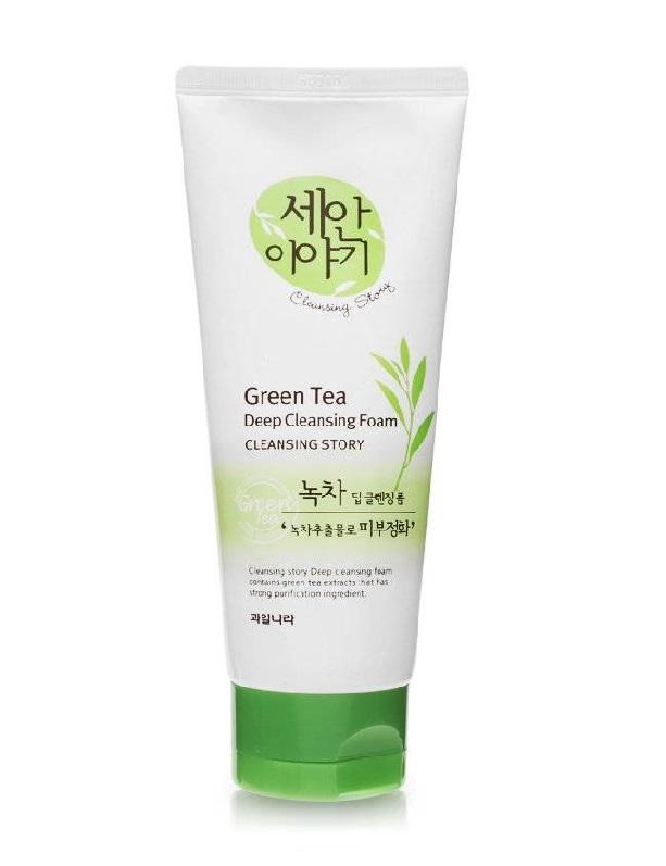 Sữa rửa mặt Welcos Green Tea Deep Cleansing Foam (Tinh chất trà xanh)